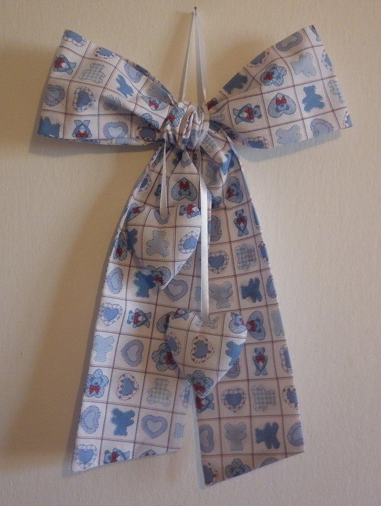 Fiocco nascita azzurro, decorazione cameretta bimbo, fuoriporta nascita