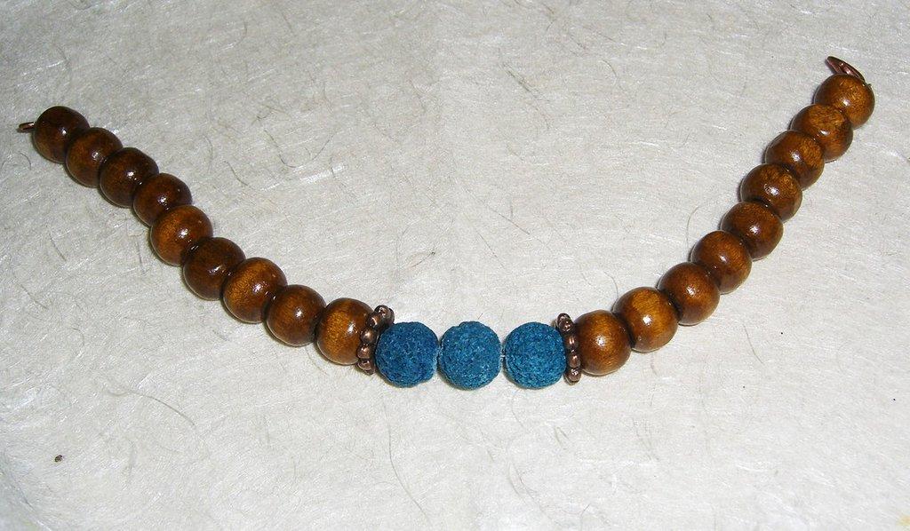 Bracciale in legno, lava azzurra e rame