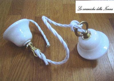 54 Pendel montatura cm 70 in ceramica e filo treccia