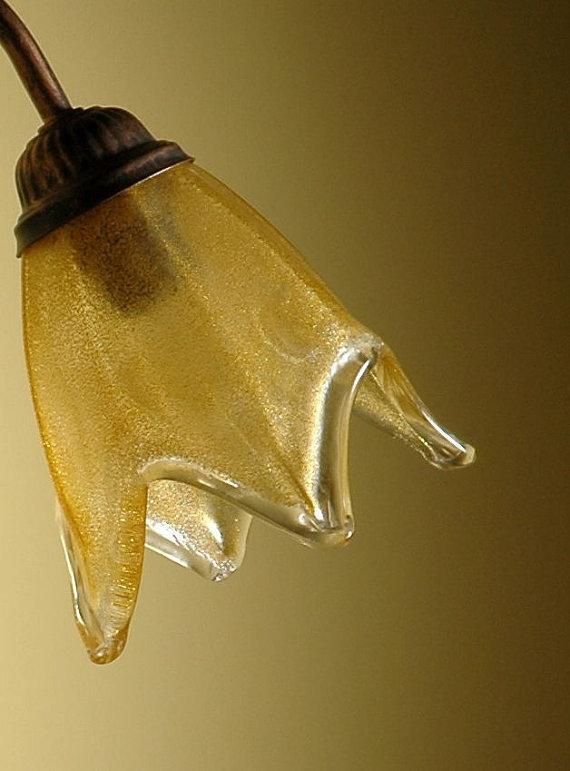 Tazzina in vetro soffiato di murano ambra ricambio per lampadari