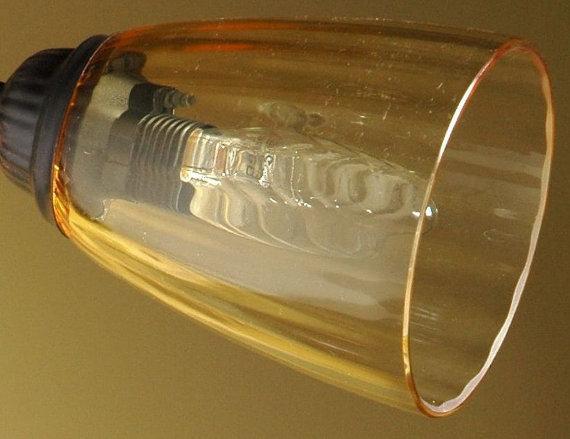 Tazzina in vetro soffiato di murano colore ambra, ricambio per lampadari