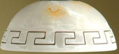 Coppa in vetro di murano ambra, decoro greca,  ricambio per lampadari