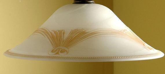 """Coppa in vetro di murano bianco latte con decoro """"Tenda"""", ricambio per lampadari"""