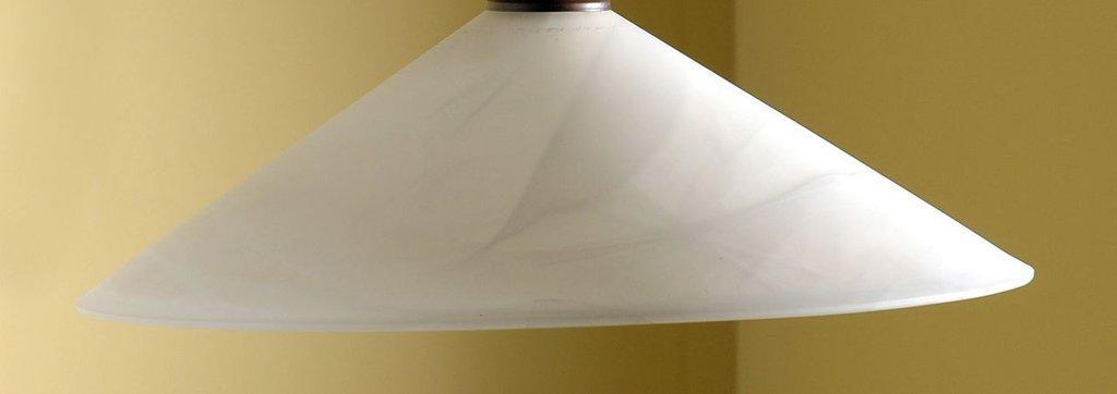 Cono in vetro di murano bianco latte colore Marmo, ricambio per lampadari
