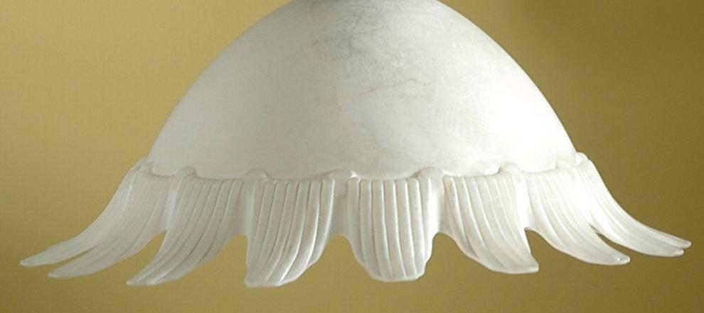 Coppa in vetro di murano colore bianco latte , ricambio per lampadari
