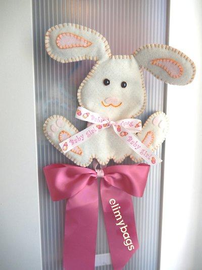Fiocco nascita coniglietto rosa in pannolenci fatto a mano♥