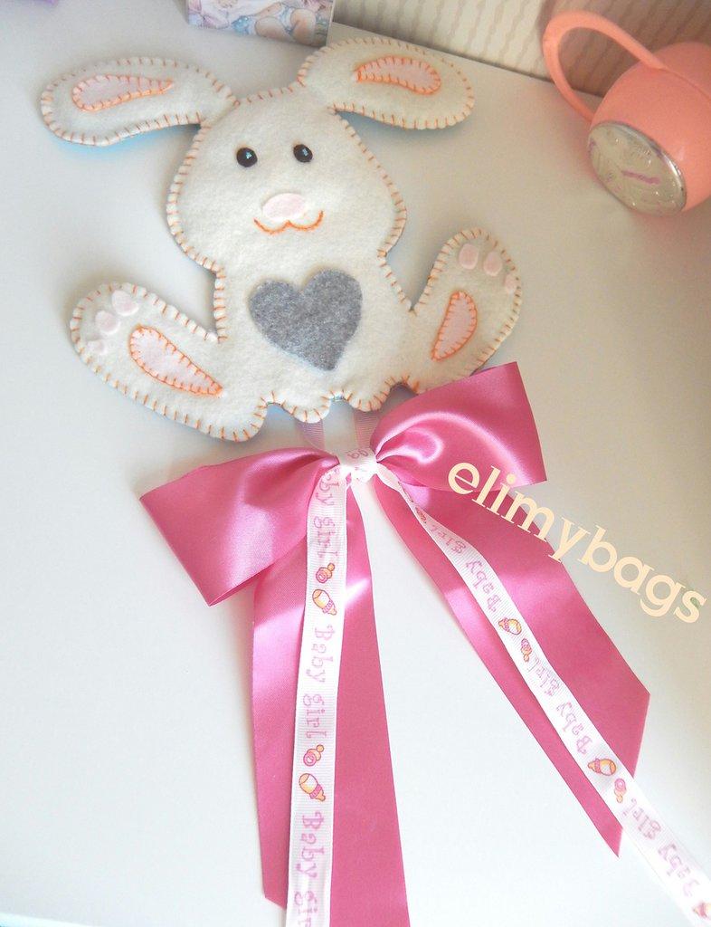 Fiocco nascita rosa con coniglietto in pannolenci fatto a mano♥