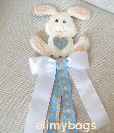 Fiocco Nascita Azzurro Con Coniglietto In Pannolenci Fatto A Mano