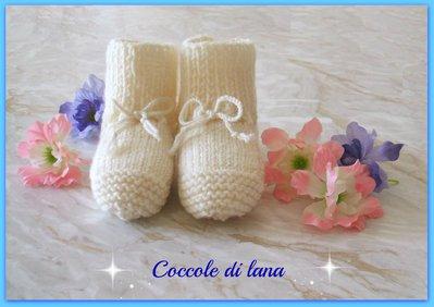 Scarpine neonato in lana ai ferri, 5-6 mesi