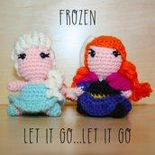 """Pupazzetti amigurumi uncinetto """"Frozen"""" Anna ed Elsa"""