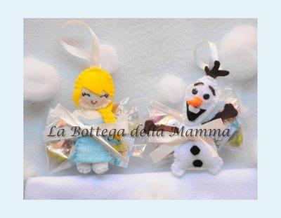 Personaggi Frozen, Elsa ed Olaf, in pannolenci.