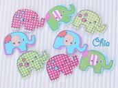 set 10 bottoni elefante in legno 28x20mm