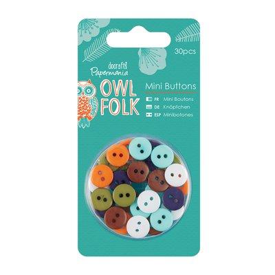 Set 30 mini bottoni - Owl Folk
