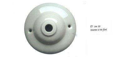 Rosone in ceramica bianca, diam.cm 10