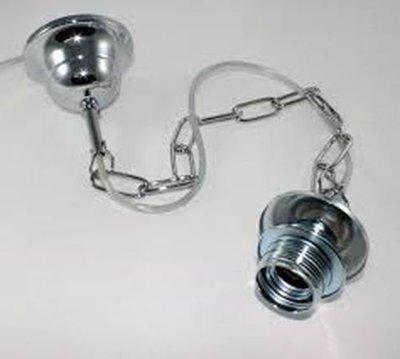 Montatura per lampadario cromata con catena