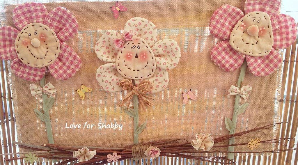quadro in pallet e tessuto handmade