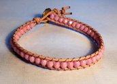 Chan luu un giro cuoio naturale e perline rosa antico