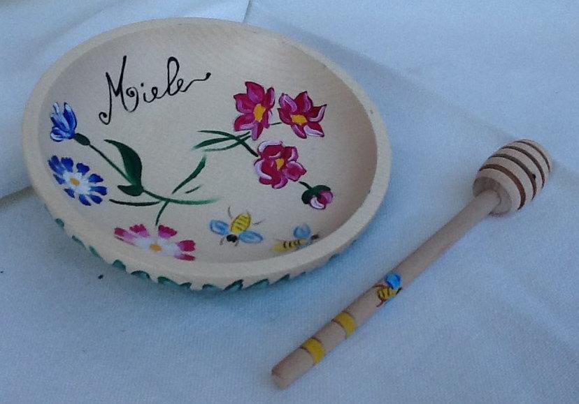 """PIATTINO LEGNO porta miele dipinto a mano """" Polline in Fiore"""""""