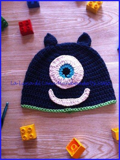 Cappello uncinetto per bambino a forma di  Mostriciattolo