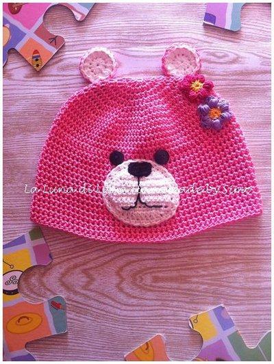 Cappello  uncinetto per bimba a forma di orsetto in cotone