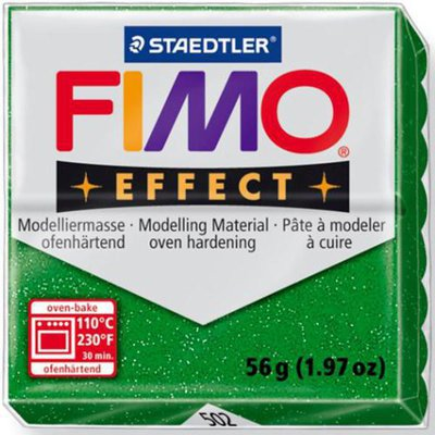 Panetto Fimo Effect 56 gr. - n. 502 Verde Glitter
