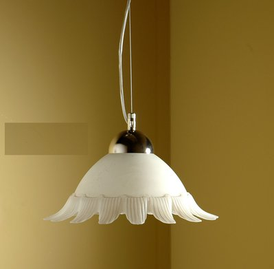 Sospensione per soffitto in vetro modello Sole, diam cm 40, colore bianco scavo