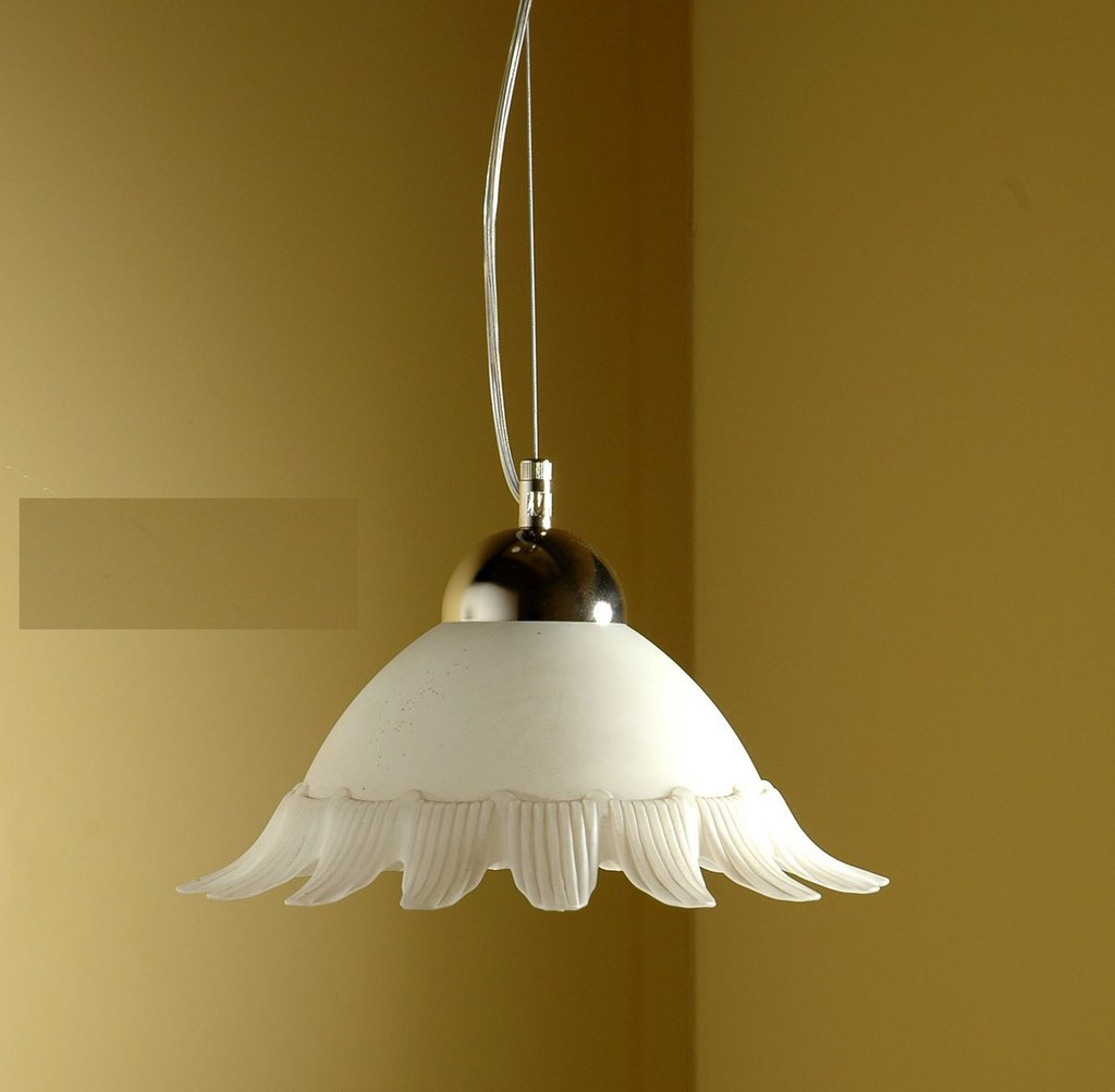 Sospensione per soffitto in vetro modello Sole, diametro cm 30, colore bianco scavo