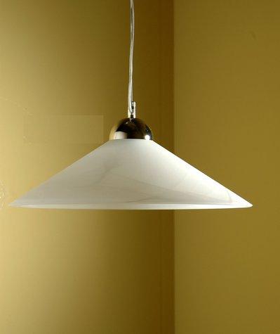 Sospensione per soffitto in vetro, modello Cono, diametro cm 45. colore bianco marmo