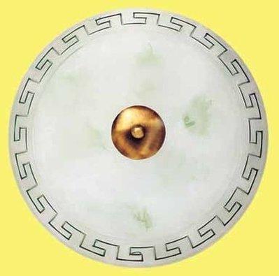 Plafoniera in vetro modello Greca, diametro cm 30, colore ambra riga marrone