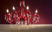 Lampadario a 6 luci in vetro soffiato di murano, con gocce Swarovski strass elements marcate