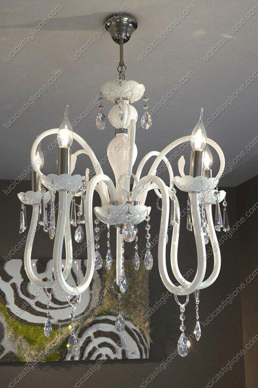 Oxford lampadario 5 luci in vetro soffiato veneziano, bianco latte ...