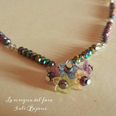 """Collana con cristalli e fiorellini """"primavera"""""""