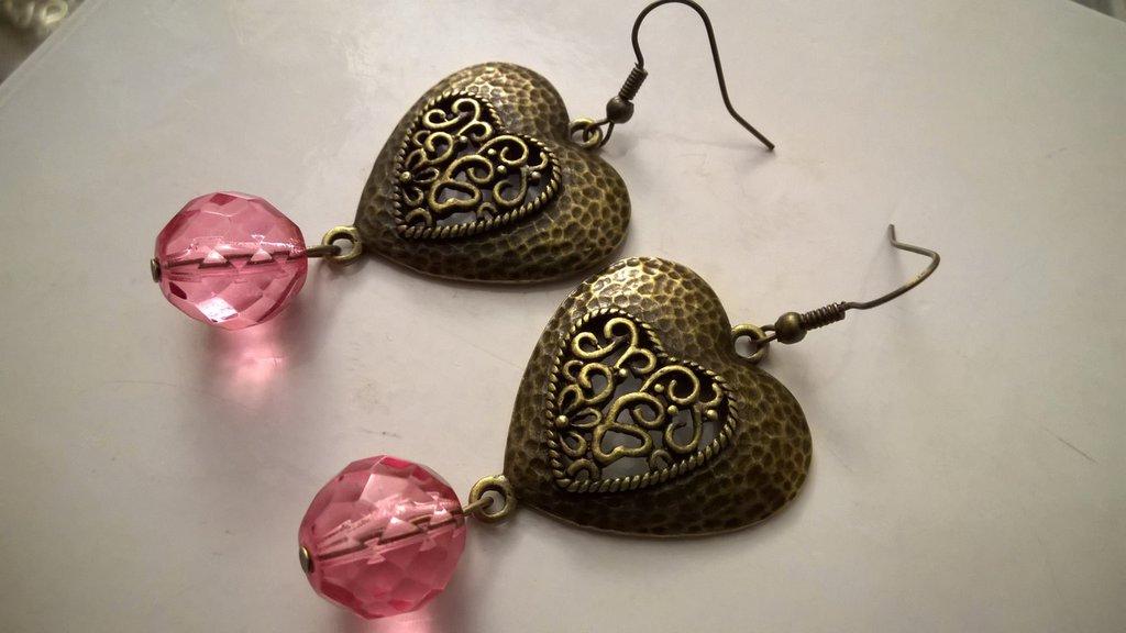 Orecchini bronzo pietre rosa