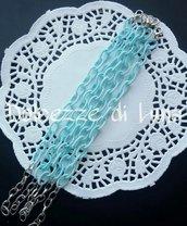 base bracciale verde acqua , catena di seta senza nikel perfetto per bracciali con ciondoli in fimo