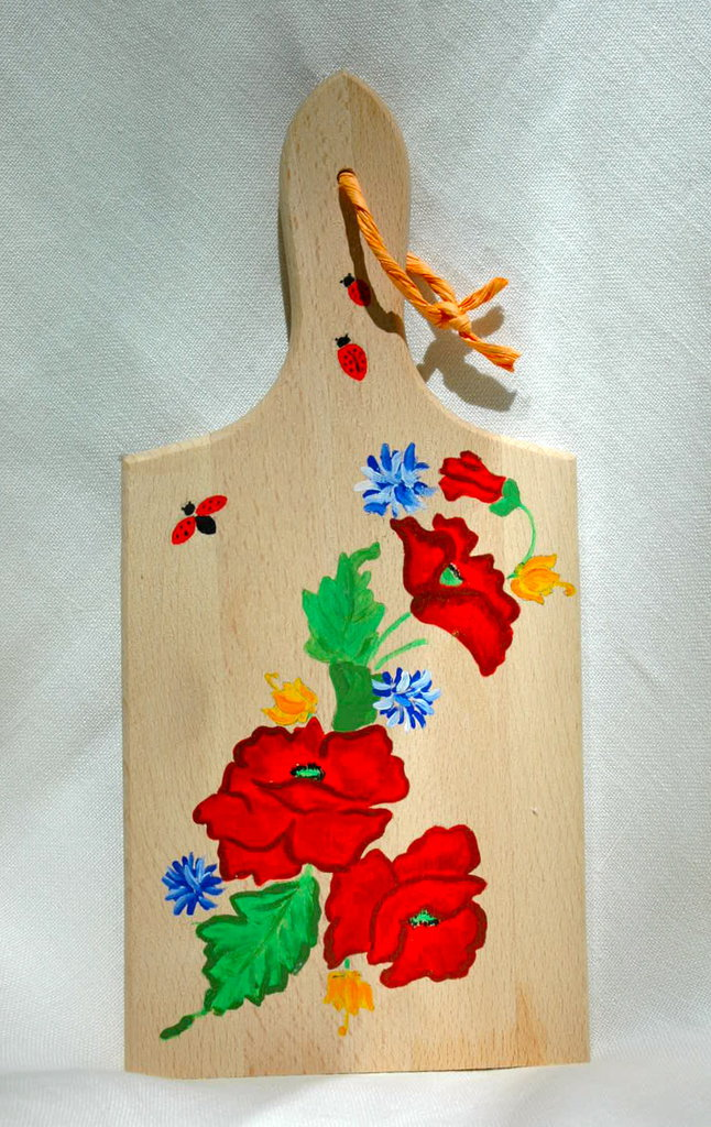 """TAGLIERE IN LEGNO naturale con manico, dipinto a mano,  """"Papaveri"""""""