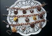 1 bracciale marrone cioccolato con Catena di seta senza nikel e ciondoli in fimo fatti a mano