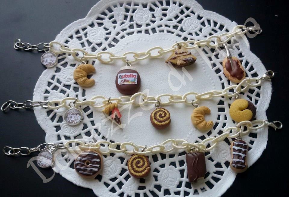 1 bracciale panna con Catena di seta senza nikel e ciondoli in fimo fatti a mano nutella,cioccolato!