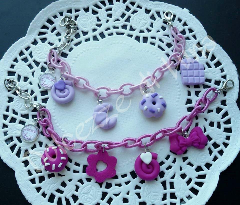 1 bracciale lilla o violetto con Catena di seta senza nikel e ciondoli in fimo fatti a mano