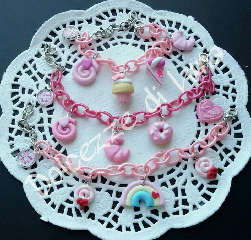 1 bracciale rosa chiaro o rosa acceso con Catena di seta senza nikel e ciondoli in fimo fatti a mano