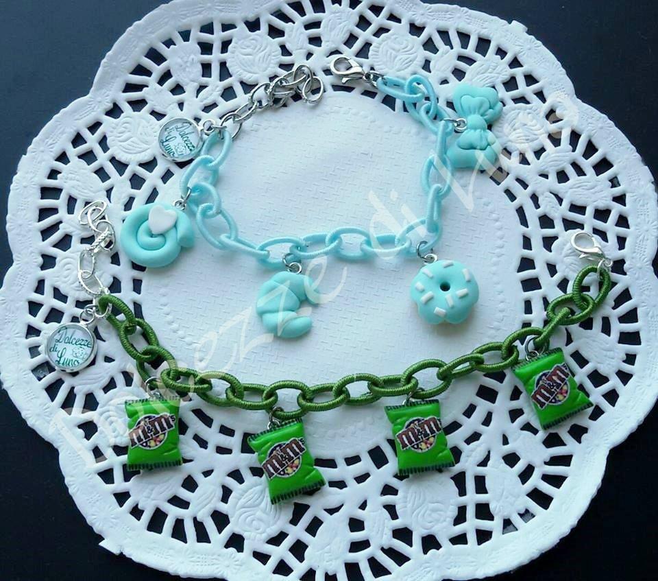 1 bracciale verde prato o verde acqua con Catena di seta senza nikel e ciondoli in fimo fatti a mano