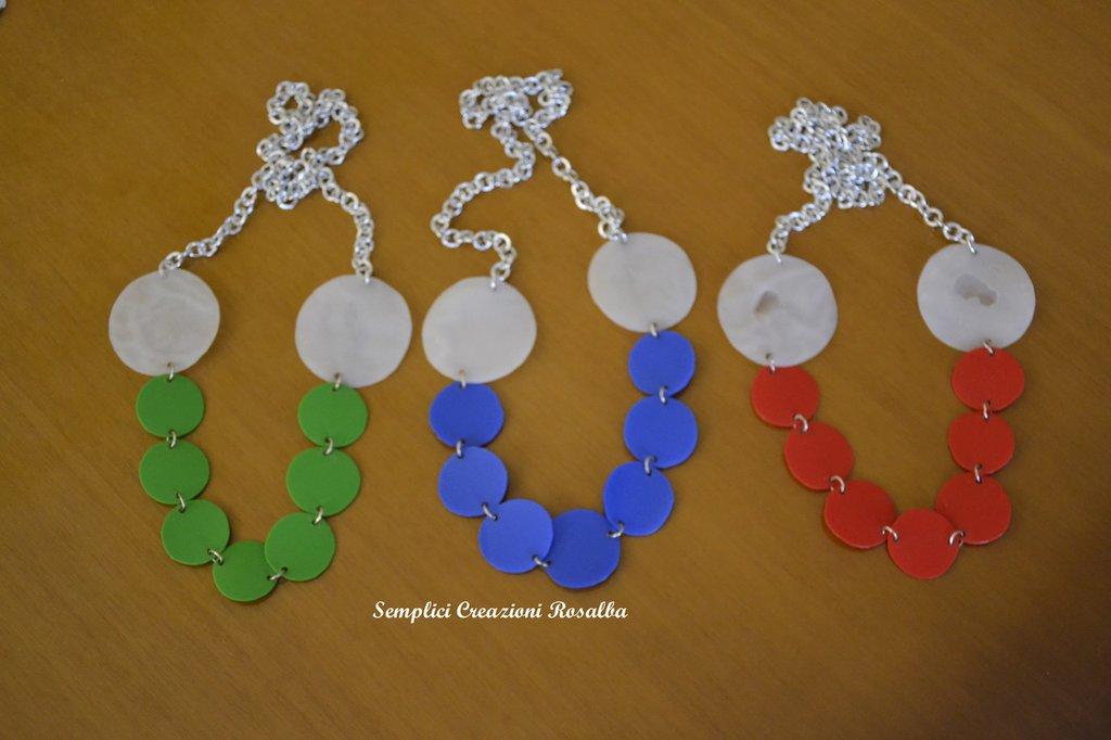 Collana cerchi plastica riciclata - fatta a mano collana estiva - vari colori