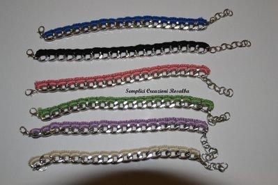 bracciali catena rivestita all'uncinetto - diversi colori disponibili