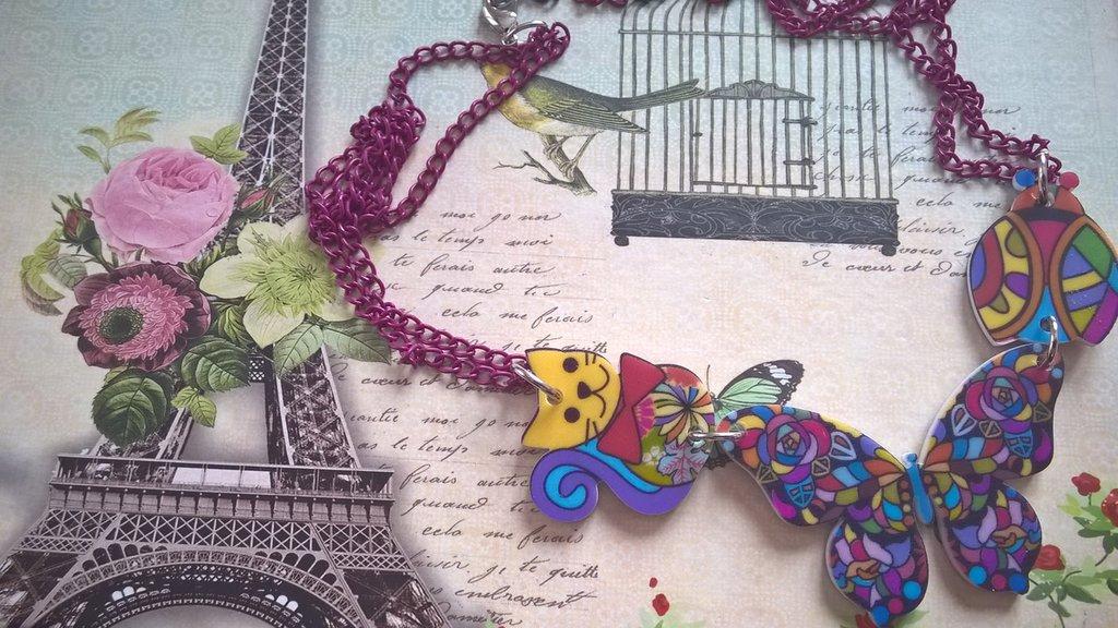 Collana in resina multicolor