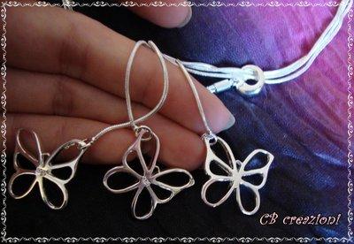 Collana a 3 fili con deliziosa farfalle in argento 925