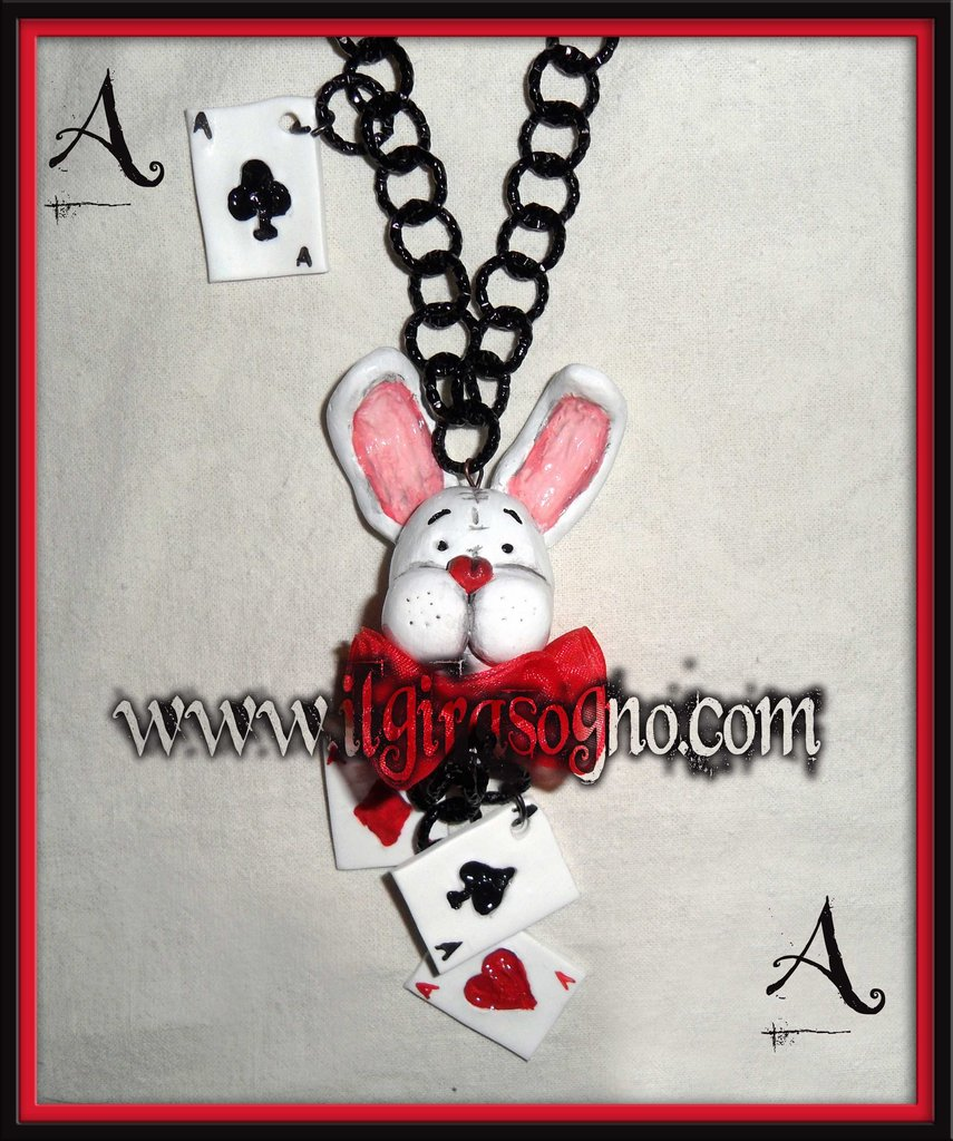 COLLANA il BIAN CONIGLIO in wonderland- NECKLACE THE WHITE RABBIT in wonderland