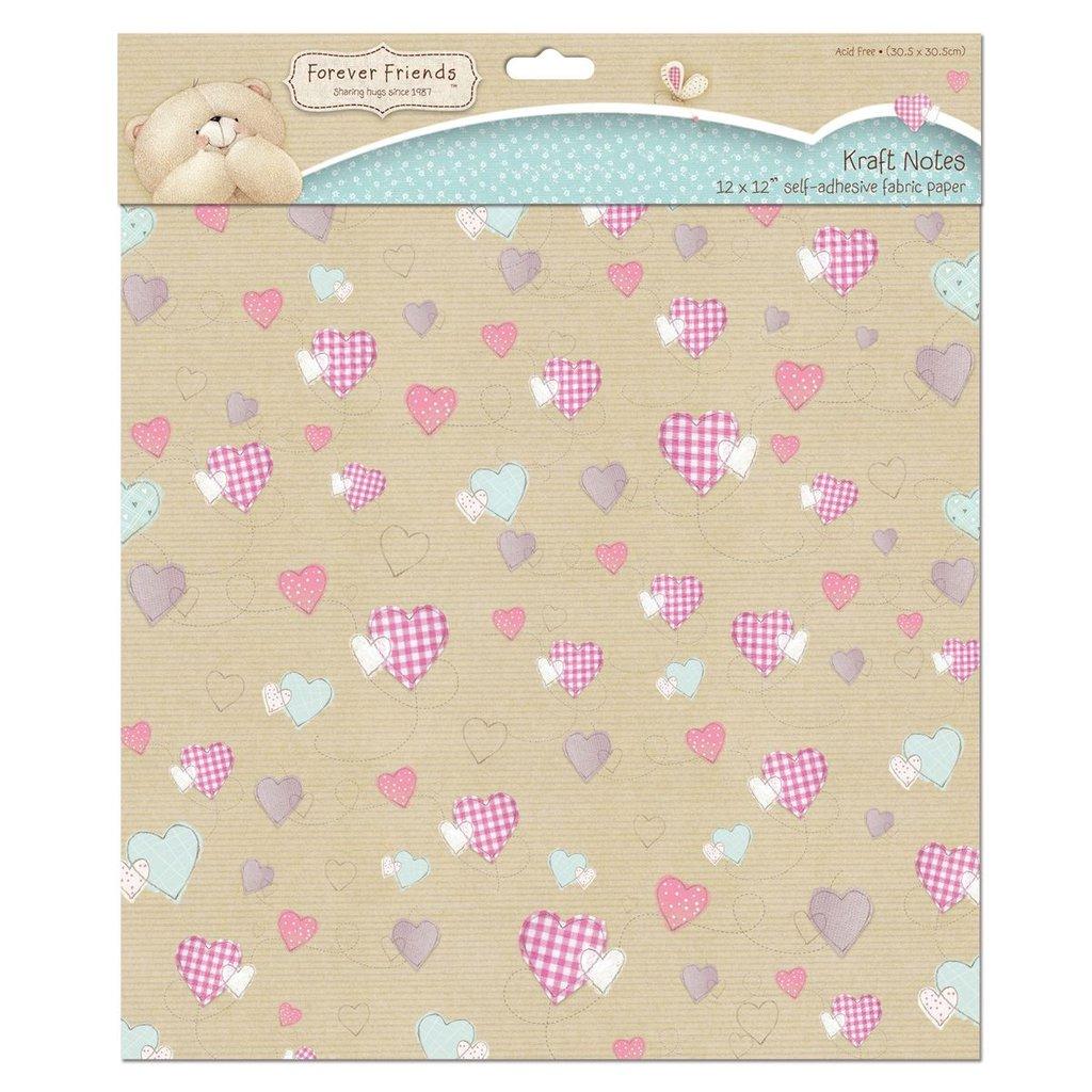 Fabric Paper 30x30 cm - Kraft Notes Hearts
