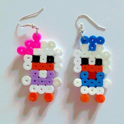 Orecchini in hama beads con paperi dei fumetti