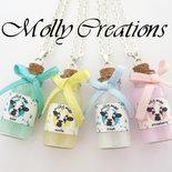 """Collana con bottiglietta di latte """"Milky Moo"""" in Fimo"""