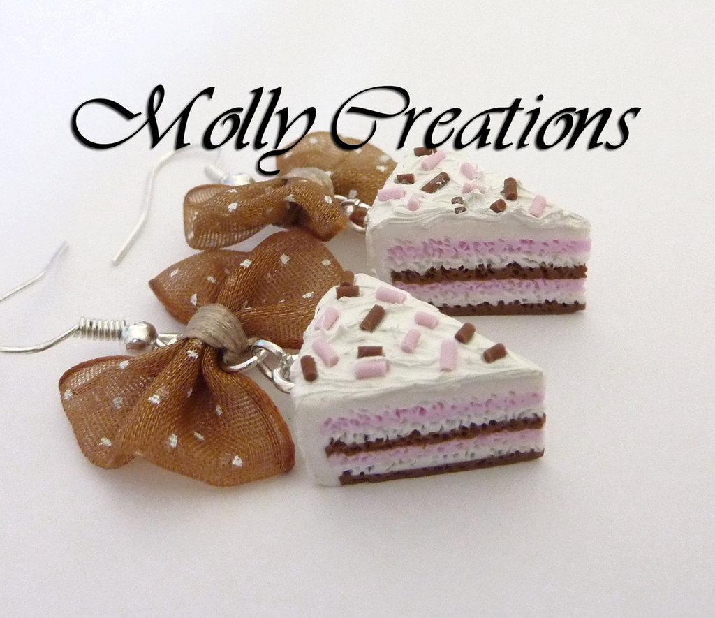 Orecchini fette di torta in Fimo