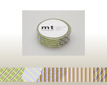 Washi Tape - Stripe-checked Green